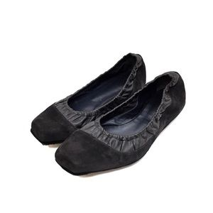 Dusica Dusica Black Leather & Nubuck Flats